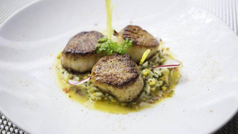 Potente's Diver Scallops with Crushed Corn Risotto & Shellfish Brodo