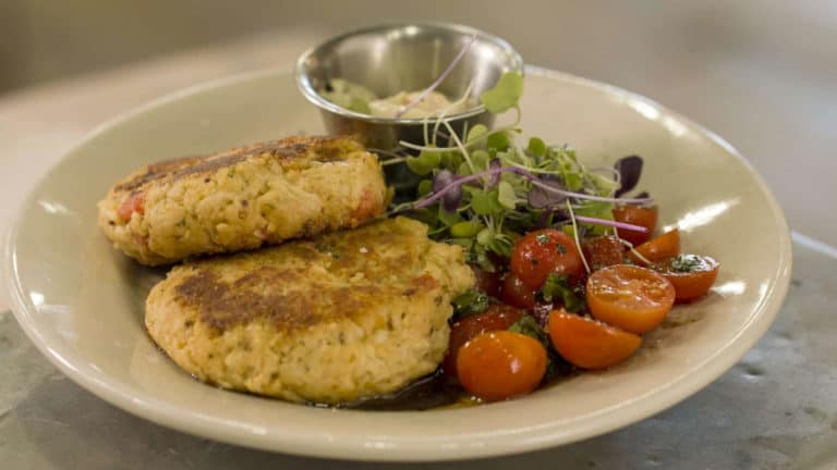 crab cakes 768x432 - S6E4 - Garden Fresh Finds at Woerner Warehouse